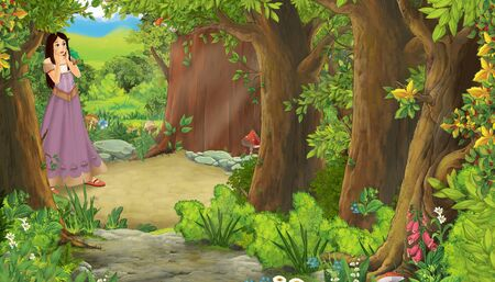 cartoon summer scene with path in the forest with young princess - illustration for children
