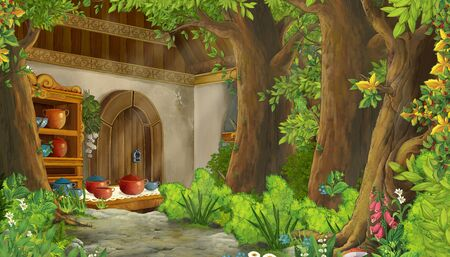 cartoon scene with farm house in the middle hidden inside in the nature illustration for children 스톡 콘텐츠