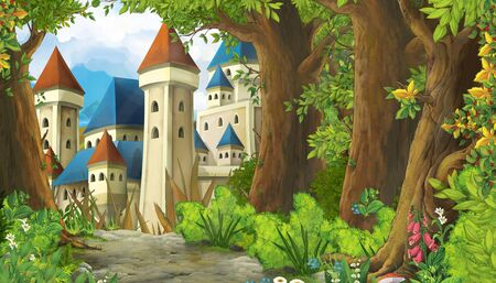 cartoon scene with mountains valley near the forest and castle illustration for children