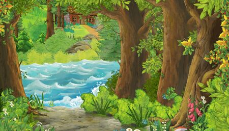 cartoon scene of beautiful shore or beach by the ocean sea or lake - illustration for children Reklamní fotografie