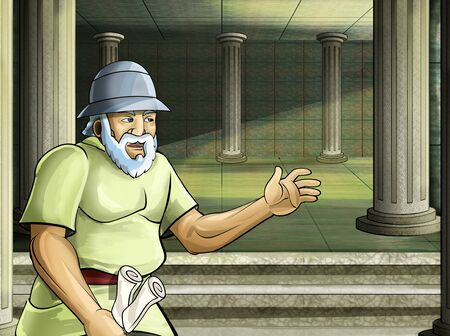 cartoon scene with roman or greek ancient character near some ancient building like temple illustration for children