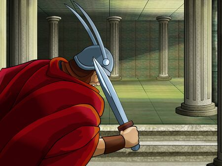 cartoon scene with roman or greek warrior pirate ancient character near some ancient building like temple illustration for children