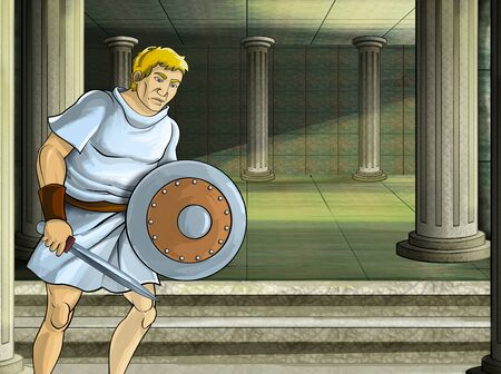 cartoon scene with roman or greek warrior ancient character near some ancient building like temple illustration for children