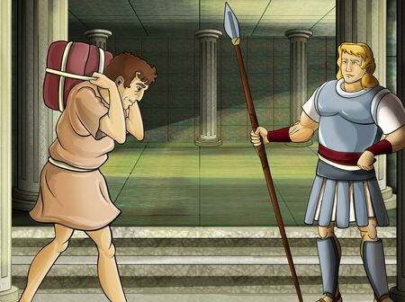cartoon scene with roman or greek warrior - ancient character near some ancient building like temple illustration for children
