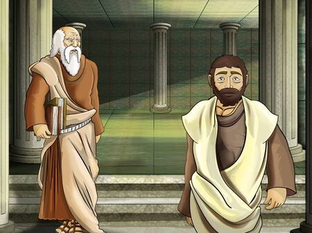 cartoon scene with roman or greek - ancient character near some ancient building like temple illustration for children