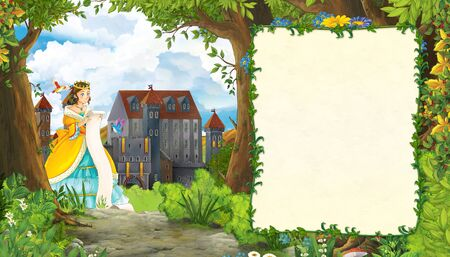 Cartoon nature scene with beautiful girl princess and castle with frame for text - illustration for the children