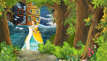 cartoon nature scene with medieval city street and with beautiful girl princess standing and reading - illustration for children