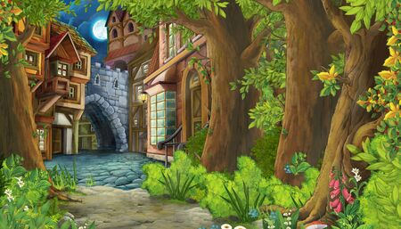 cartoon nature scene with medieval city street - illustration for children 版權商用圖片