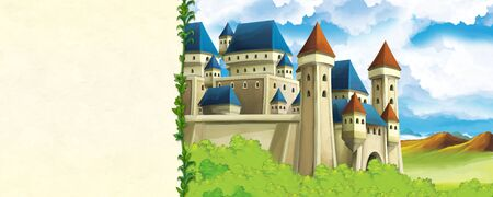 Cartoon nature scene with beautiful castle near the forest with frame for text - title page - illustration for the children
