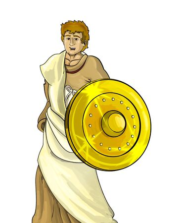 cartoon scene with roman or greek ancient character warrior or gladiator on white background - illustration for children