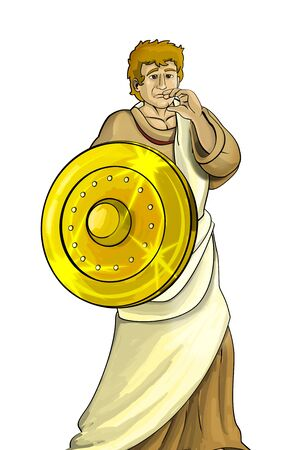 cartoon scene with roman or greek ancient character warrior or gladiator on white background - illustration for children Stok Fotoğraf - 133222004