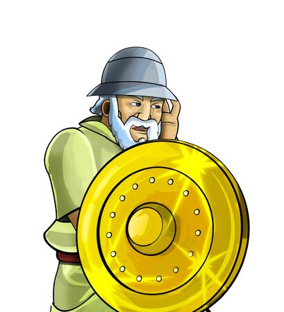 cartoon scene with roman or greek ancient character warrior or gladiator on white background - illustration for children Stok Fotoğraf - 133222005