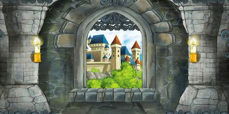 Cartoon scene of medieval castle interior with window with view on some other castle - illustration for children Zdjęcie Seryjne