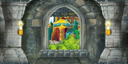 Cartoon scene of medieval castle interior with window with view on some other castle - illustration for children Stock Photo