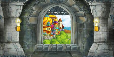 Cartoon scene of medieval castle interior with window with view on some other castle - illustration for children 스톡 콘텐츠