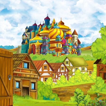 cartoon scene with kingdom castle and mountains valley near the forest and farm village settlement illustration for children