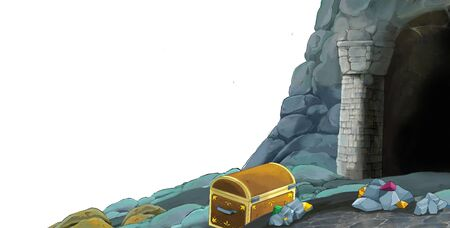 cartoon scene with entrance to the mine on white background with space for text - illustration for children