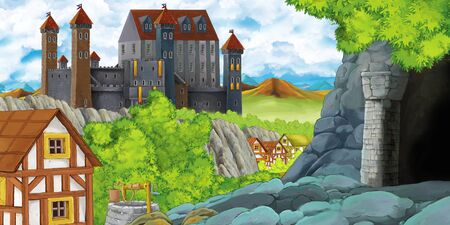 cartoon scene with kingdom castle and mountains valley near the forest and farm village settlement and mining cave illustration for children
