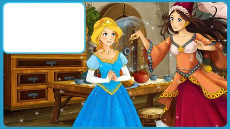 Cartoon fairy tale scene with princess and sorceress with frame for text - illustration for children Reklamní fotografie