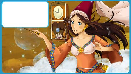 cartoon scene with sorceress in the wooden room with frame for text - illustration for children