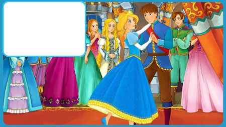 cartoon scene with king and princess being happy with frame for text - illustration for children Foto de archivo - 134603918