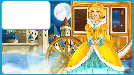 Cartoon scene with princess or queen looking at flying fairy - beautiful castle and carriage in the background with frame for text - illustration for children Reklamní fotografie
