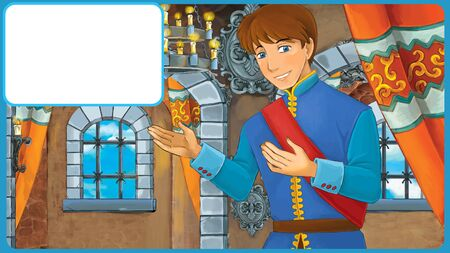 happy cartoon scene with prince or king in castle room with frame for text - illustration for children