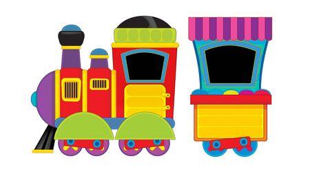 Cartone animato divertente cercando treno a vapore su sfondo bianco - illustrazione per bambini