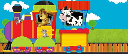 Cartoon funny looking steam train going through the meadow with farm animals - illustration for children