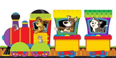 cartoon steam train on tracks with farm animals on white background space for text - illustration for children