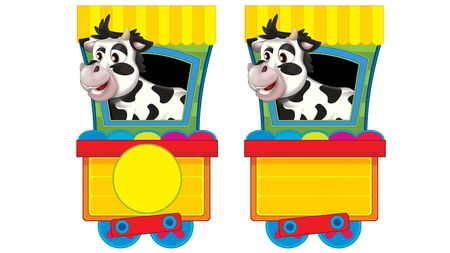 Cartoon funny looking steam wagon with animal cow on white background - illustration for children 版權商用圖片