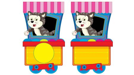 Cartoon funny looking steam wagon with animal cat on white background - illustration for children 版權商用圖片