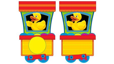 Cartoon funny looking steam wagon with animal duck on white background - illustration for children
