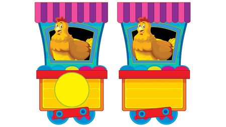 Cartoon funny looking steam wagon with animal hen on white background - illustration for children