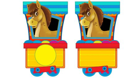 Cartoon funny looking steam wagon with animal horse on white background - illustration for children Banco de Imagens