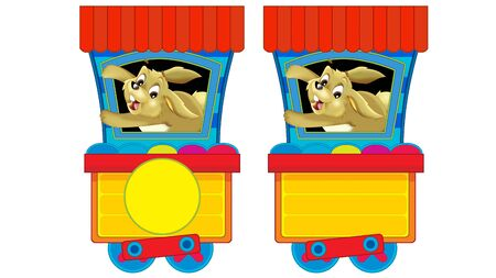 Cartoon funny looking steam wagon with animal rabbit on white background - illustration for children