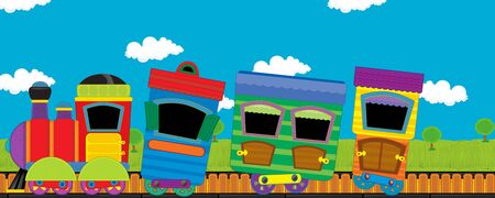 cartoon funny looking steam train going through the meadow with nobody on the stage - illustration for children Stockfoto