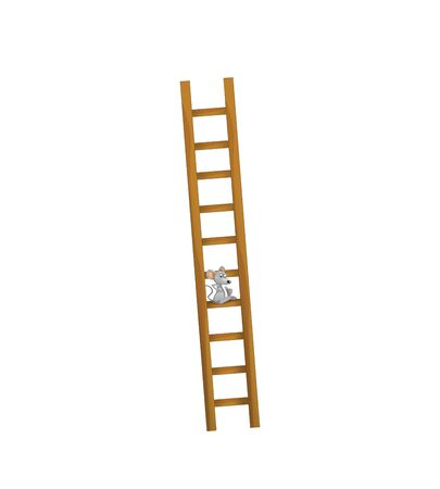 cartoon scene with wooden farm ladder for different usage on white background - illustration for children