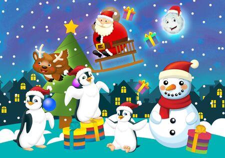 Scène heureuse de Noël avec différents animaux et père Noël - illustration pour les enfants