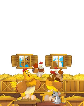 Cartoon farm scene with animal chicken bird having fun on white background with space for text - illustration for children Foto de archivo - 134315461
