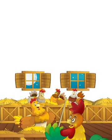 Cartoon farm scene with animal chicken bird having fun on white background with space for text - illustration for children Foto de archivo - 134315465
