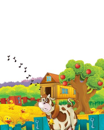 Cartoon farm scene with animal chicken bird having fun on white background with space for text - illustration for children Foto de archivo - 134315467