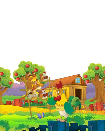 Cartoon farm scene with animal chicken bird having fun on white background with space for text - illustration for children Foto de archivo - 134315469