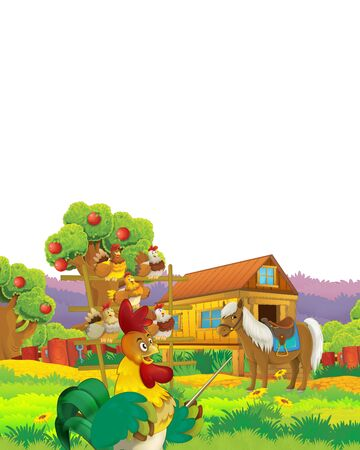 Cartoon farm scene with animal chicken bird having fun on white background with space for text - illustration for children Foto de archivo - 134315473