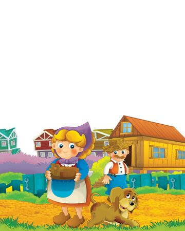 Cartoon farm scene with animal chicken bird having fun on white background with space for text - illustration for children Foto de archivo - 134315472