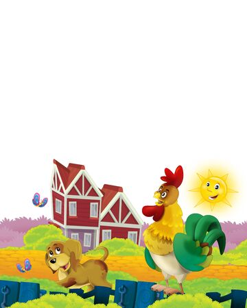 Cartoon farm scene with animal chicken bird having fun on white background with space for text - illustration for children Foto de archivo - 134315475