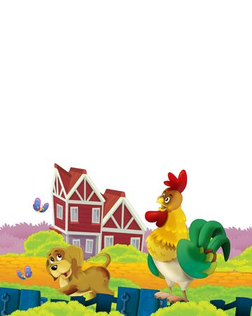 Cartoon farm scene with animal chicken bird having fun on white background with space for text - illustration for children Foto de archivo - 134315474