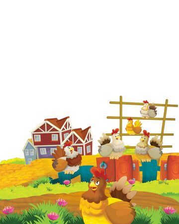 Cartoon farm scene with animal chicken bird having fun on white background with space for text - illustration for children Foto de archivo - 134424372