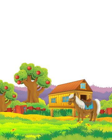 Cartoon farm scene with animal chicken bird having fun on white background with space for text - illustration for children Foto de archivo - 134424616