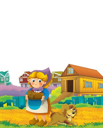 Cartoon farm scene with farmer woman having fun on white background with space for text - illustration for children Foto de archivo - 134424618